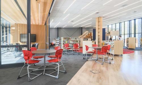 7220-08-Pinehurst School Library_View across Library